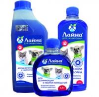 ЛАЙНА ДЛЯ ЖИВОТНЫХ Средство для дезинфекции, уборки помещений и устранения неприятных запахов и меток животных.