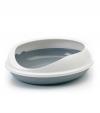 Savic   / Савик Туалет для кошек овальный с бортом FIGARO серый 55*48*15.5 см